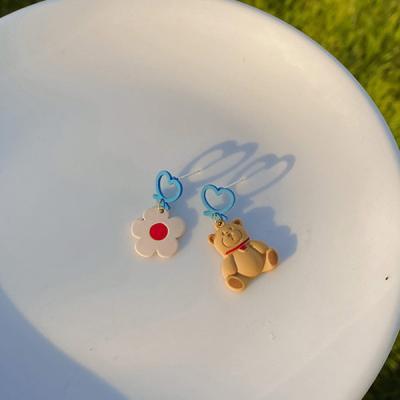첼딘 캐릭터 곰돌이 귀걸이 925