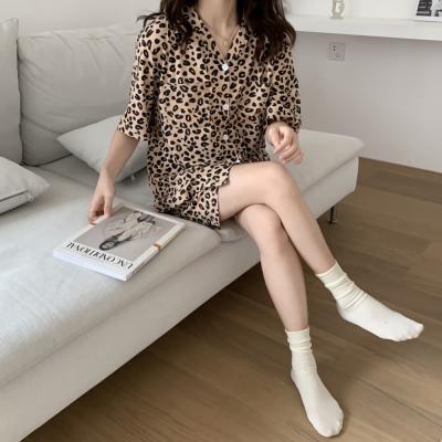 여성 홈웨어 반팔 잠옷 세트 파자마 리얼 레오파드