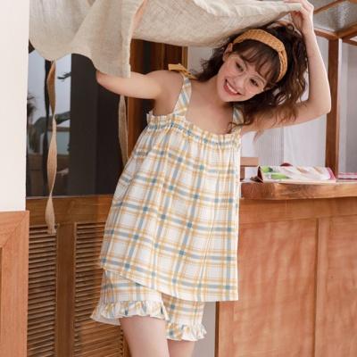 2color 체크 나시 파자마 여름 잠옷