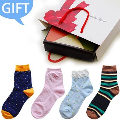 [GIFT] 패션양말 남녀 4종 선물세트 *고급스러운 선물 포장*