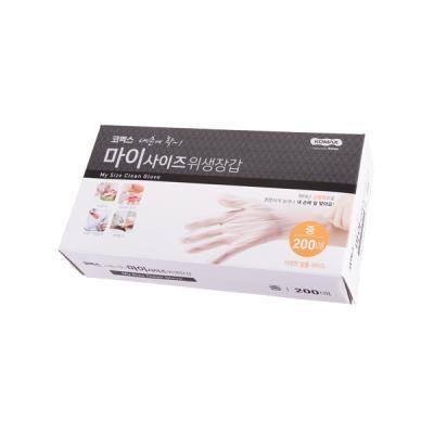 코멕스 마이사이즈 일회용 비닐 위생장갑(중) 200매