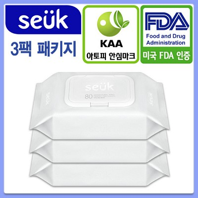 [seuk] [스윽 물티슈] 미국 FDA 의료용품 등록 /  항균물티슈 / 아토피 안심 인증 확득/ 80매 3팩 패키지