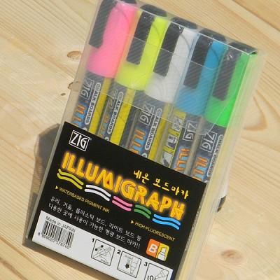 [Kuretake] 유리,거울,창문,블랙보드,네온보드...일본 쿠레다케 윈도우마카-지그 네온 보드마카 5색세트 PMA-510/5V HF114-3