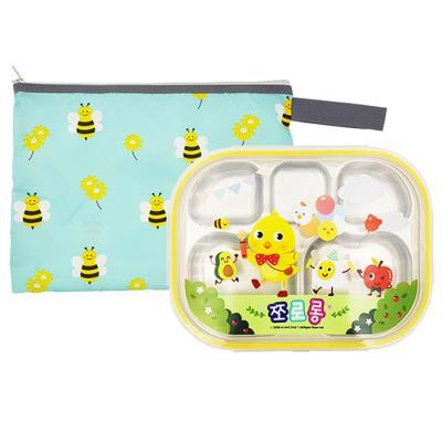 쪼로롱 꿀벌대모험 유아식판 하트형 뚜껑+파우치 포함