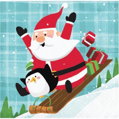 [빛나파티] 산타와 펭귄 장식용 종이 냅킨 소