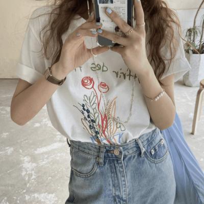 여성 데일리 반팔티 티셔츠 드라이핏 플라워 레터링
