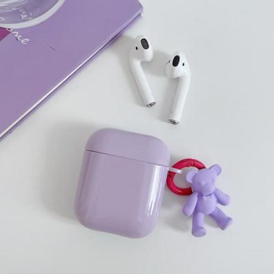 애플 에어팟 케이스 프로 3세대 2세대 퍼플 곰돌이