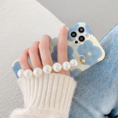 아이폰12 11 pro max xs 8 블루꽃 진주 스트랩 케이스