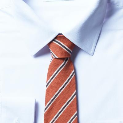 남자 스트라이프 오렌지 면 넥타이