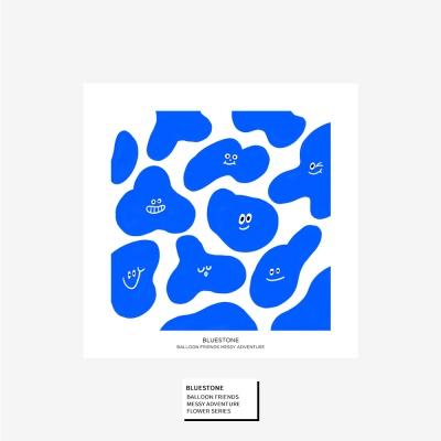 벌룬프렌즈 일러스트 정사각 포스터 - 블루스톤
