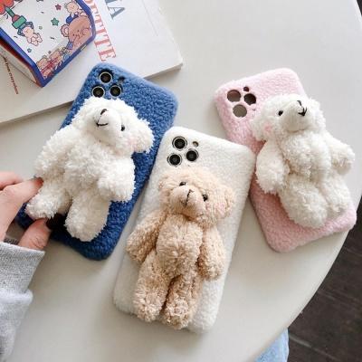 아이폰11 pro max 뽀글이 곰돌이 인형 양털 폰 케이스