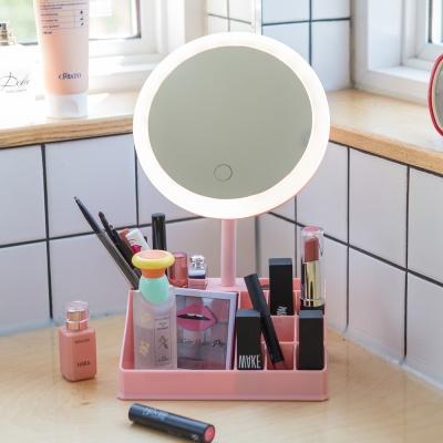 아이린 무선 충전식 수납 LED 화장거울,핑크