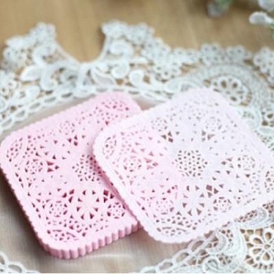 도일리페이퍼 사각 10cm 핑크 - 10장