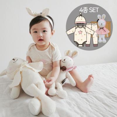오가닉백일여아선물4종세트(의류3종+내친구토끼인형)