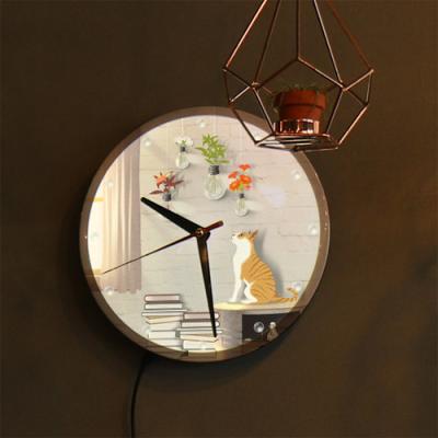 nf117-LED시계액자25R_꽃전구와고양이