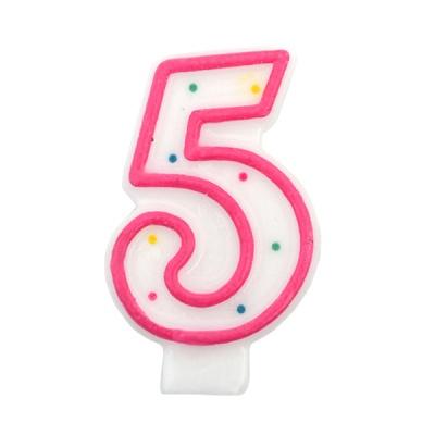 도트 숫자초5-핑크