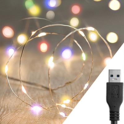 스트링라이트 10M USB 레인보우_골드 와이어