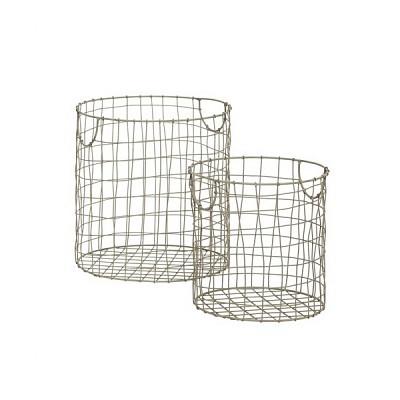 [Hubsch]Zinc basket, round, set of 2 777001 스토리지바스켓