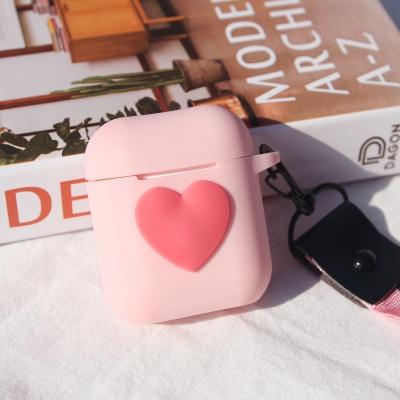 에어팟 케이스 핑크 하트 실리콘 (스트랩 set)