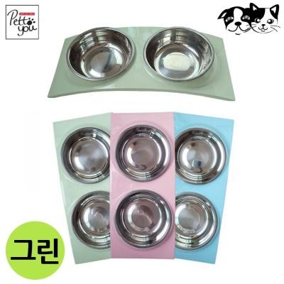 펫투유 우쭈쭈 뉴 블링 스텐식기 (그린) (애완용식기)