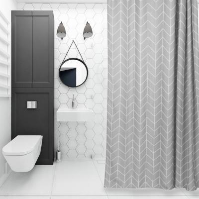 욕실 화장실 패브릭 샤워 방수 커튼 (그레이 180x180)