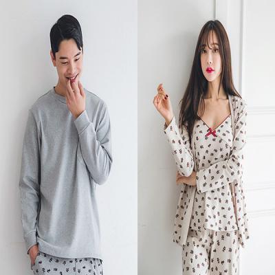 [쿠비카]옆트임 도트베어 3피스 롱 커플잠옷 WM132