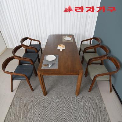 구시 고무나무 원목 6인 의자형 식탁세트