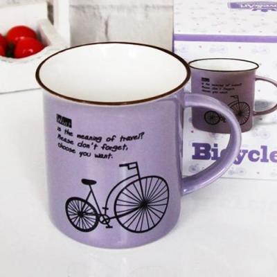 빈티지 바이올렛 자전거 머그 1개