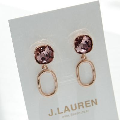 제이로렌 M03143 버건디 스와로브스키크리스탈 귀걸이