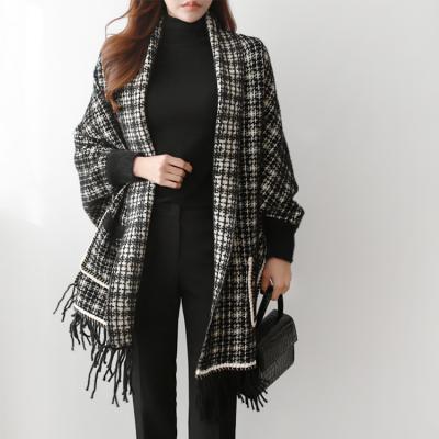 Tweed Shawl Knit Cardigan