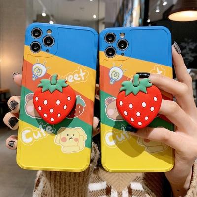 아이폰8 7 플러스 꽃잎딸기 캐릭터 그립톡 TPU 케이스