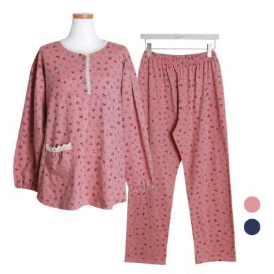 [쿠비카]순면 긴소매라운드 투피스 여성잠옷 W414