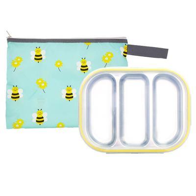 꿀벌 3구 옐로우 유아식판 뚜껑+파우치 포함