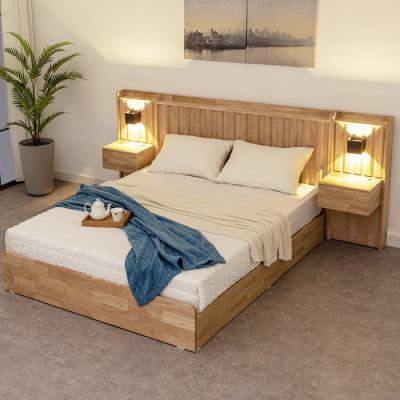 [노하우] 멜라 고무나무원목 서랍형 SS 침대+협탁2개