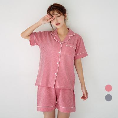 [쿠비카]모던 화이트 파이핑 투피스 여성잠옷 W573