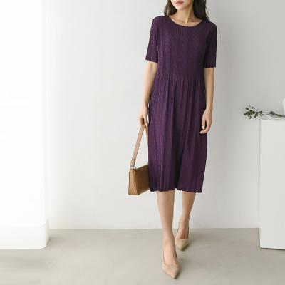 Pleats Midi Dress - 반팔