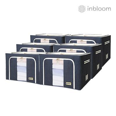 인블룸 6개세트 도트 리빙박스 100L 네이비