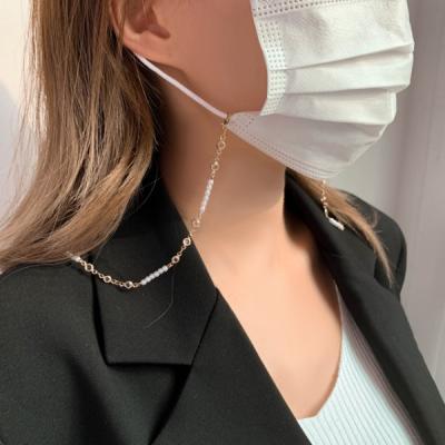 줄진주 투명큐빅 체인 마스크 줄 스트랩 목걸이