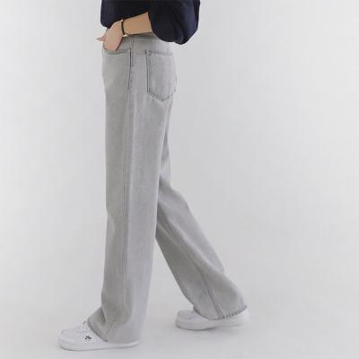 Grey Straight Wide Jeans