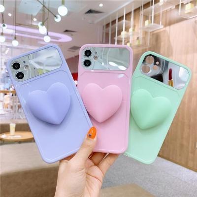 아이폰11 pro max xr 하트 그립톡 미러 실리콘 케이스