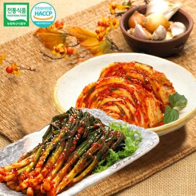 [명가김치] 국내산 맛김치 3kg+파김치 3kg