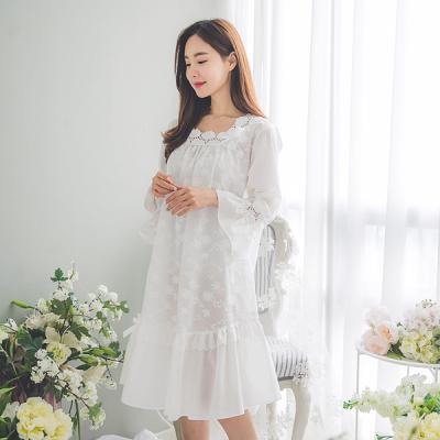 [쿠비카]레이스 자수 아사면 원피스 여성잠옷 W138