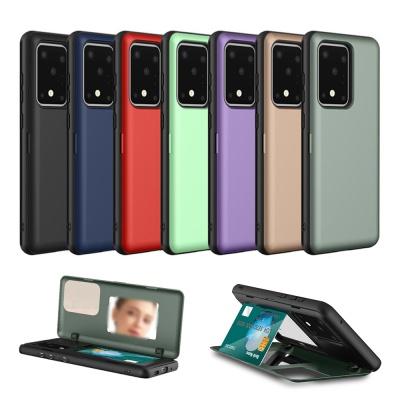 아이폰xr xs max 컬러 무지 카드범퍼 거울 하드케이스