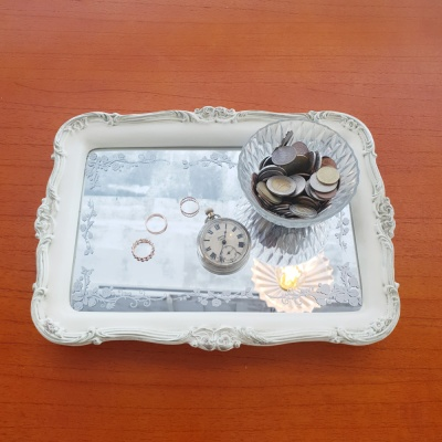 로렌 테이블 사각 미러 트레이 (2color)