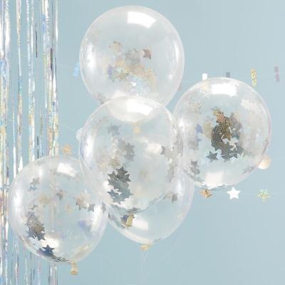 실버 홀로그램 별모양 컨페티 풍선 Confetti Balloons