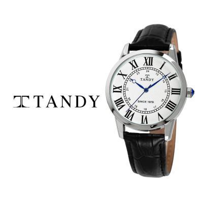 탠디 클래식 커플 가죽 손목시계 T-1714 남자 화이트