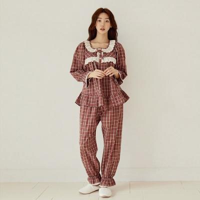 [쿠비카]미니 프릴 레이스 체크 투피스 여성잠옷 W815