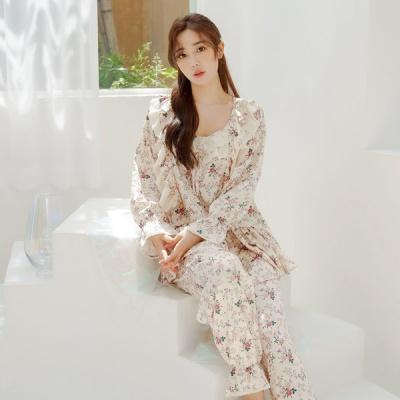 [쿠비카]매끈한 모달 면 플라워 투피스 여성잠옷 W682