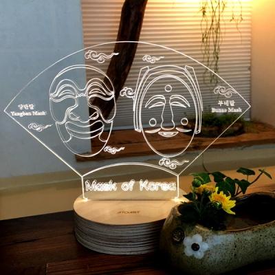 양반부네 하회탈 전통모양 LED 아크릴조명