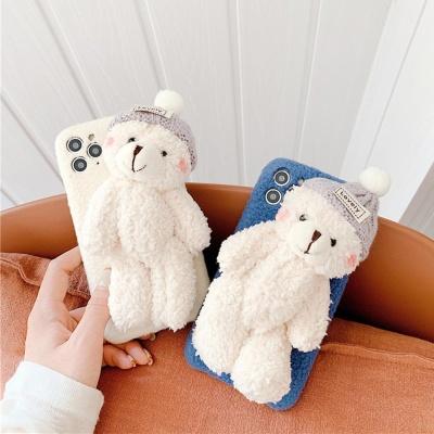 아이폰se2 xr xs max 8 7 곰돌이 인형 양털 폰 케이스